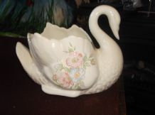 COLLECTABLE GLAZED POTTERY SWAN PLANTER ST MICHAEL M&S EDWARDIAN LADY FLORAL 6""